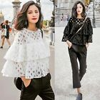 New Sexy Women Hollow Out Lace Long Sleeve Tops Ruffles Shirt T-shirt Blouse EN2