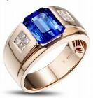 Fashion Jewelry Men's  White Gold Plated Engagement & wedding Ring Size 8-15