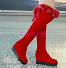 Ladies Warm Over The Knee High Boots Fur Trim Faux Suede Hidden Wedge Shoes Size