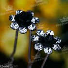 Bridal Girl Lady Crystal Rhinestone Rose Flower Vogue Hair pins Hairpin Clip