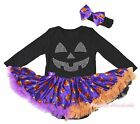Halloween Black Cotton L/S Bodysuit Girls Rhinestone Pumpkin Baby Dress NB-18M
