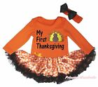 MY First Thanksgiving Turkey Orange L/S Bodysuit Girls Dot Baby Dress Set NB-18M
