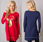 Women Casual Tops New T-Shirt Loose Fashion Deer Blouse Long Sleeve Shirt Dress