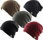 Waffle Ribbed Knit + Winter Warm Faux Fur Fleece Lining Slouch Beanie Ski Cap