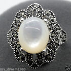 New Women's Marcasite 925 Sterling Silver Oval White Shell Pearl Ring Size #7-10