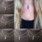 DOUBLE CHAIN CRYSTAL PENDANT O-RING HARNESS CHOKER NECKLACE