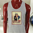UNCLE SAM ARMY WANT YOU  RECRUIT AMERICAN SOLDIER Mens Gray Tank Top