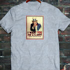 UNCLE SAM ARMY WANT YOU  RECRUIT AMERICAN SOLDIER Mens Gray T-Shirt