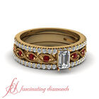 1 Ct Yellow Gold Trio Wedding Ring Set With Certified Emerald Cut Diamond & Ruby