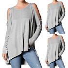 Oversize Damen Off Shoulder Asymmetrisch Split Sweat Shirt Herbst Baggy Tops