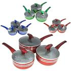 Tri-Star Metallic 3pc Saucepan Set With Non Stick Marble Coating 4 Colours Gift