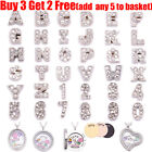 A - Z Crystal Alphabet Number Floating Charms For Living Memory Locket Necklace