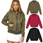 Women Ladies Classic Padded Bomber Jacket Vintage Zip Up Biker Coat Stylish B20E