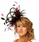 Black & Hot Pink Fuschia Fascinator hat/choose any colour satin/ feathers