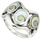 NATURAL WHITE SHIVA EYE 925 STERLING SILVER RING JEWELRY SIZE 7.5 H45641