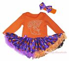 BOOS Ghost Halloween Orange Cotton L/S Bodysuit Girls Pumpkin Baby Dress NB-18M