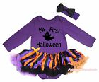 My 1ST Halloween Ghost Purple Cotton L/S Bodysuit Girl Striped Baby Dress NB-18M