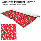 RED SNOWMAN CHRISTMAS DESIGN FABRIC LYCRA SPANDEX POLYESTER ALOBA CHIFFON