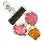 NATURAL MULTI COLOR TOURMALINE ROUGH DRUZY 925 STERLING SILVER PENDANT J9081