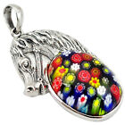MULTI COLOR ITALIAN MURANO GLASS 925 STERLING SILVER HORSE PENDANT A18363
