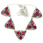 RED FAUX RUBY OVAL SHAPE 925 STERLING SILVER NECKLACE JEWELRY J11980