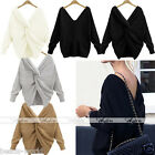 Women's V-Neck Twist Knot Back Jumper Long Sleeve Loose Sweater Both Sides Wear