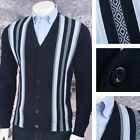 Art Gallery 60's Retro Mod Vertical Stripe 100% Cotton Knitted Cardigan Navy