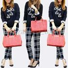 Fashion Women Autumn Long Sleeve Check Letter Print Tops Shirts T-Shirt Blouse
