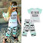 Toddler Kids Baby Girls Outfit Clothes T-shirt Tops+Long Pants Trousers B20E