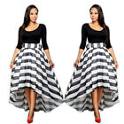Elegant Womens 3/4 Sleeves Tops + Irregular Hem Black White Striped Suit Dress