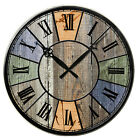 Colorful Shabby Vintage Style Chic Wooden Wall Clock Antique Rustic Kitchen Home