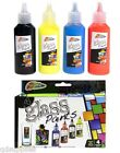 SET 4 GLASS ART PAINTS FAST DRY COLOURS RED BLUE YELLOW BLACK GRAFIX R06-0056