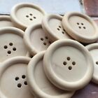 UNLACQUERED NATURAL WOODEN BUTTONS X 10 - FOUR HOLE- 23 MM- 35MM