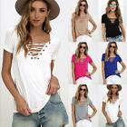 New Lady Womens Lace up V Neck Blouse Casual Loose Long Sleeve Slim T-Shirt Tops
