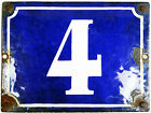 Large old blue French house number 4 door gate wall plate plaque enamel sign