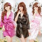 Women's Sexy Silk Satin Sleepwear Gown Bath Robe Nightwear Dress Costume Pajamas