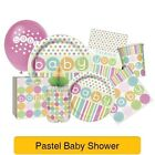 PASTEL Spots/Stripes - Baby Shower PARTY RANGE (Decorations & Tableware)