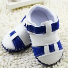 Infant Baby boy white/blue PU Soft-soled shoes sandals size 0-6 6-12 12-18 month
