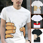 3D T-shirt Tee Blouse Lovers Men's Short Sleeve Personality Hand Grasp
