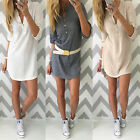 Womens Bodycon Long Sleeve Dress Ladies Party Slim Club Mini Dress Size 6-16