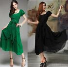 Elegant Korean Womens Chiffon Irregular Skirt Short Sleeve Slim Fit Dress Sizes