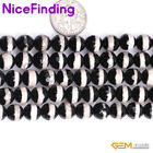 Round Faceted Black White Stripe Fire Agate Stone Beads For Jewelry Making 15""