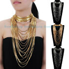 New Fashion Jewelry Gold Silver Chains Fringe Choker Statement Bib Necklace Sets