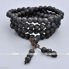 Natural Lava Rock Stone Gemstone Beads Multi-layer Buddha Bracelet Mala Necklace