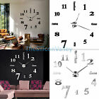 Modern DIY Large Wall Clock 3D Mirror Surface Sticker Home Office Decor New