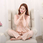 MASALING Women Lady Ultra-thin Smooth Silk Pajamas Set Long Sleeve Sleepwear