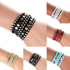 New Faux Leather Wrap Wristband Cuff Punk Rhinestone Multilayer Bracelet Bangle
