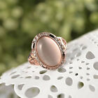 ROXI Austrian Crystal Oval Opal Gold Plated Copper Woman Ring Rose Golden Hot