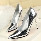 Sexy Check Retro Shallow Pointed Toe Pumps Slim High Heels Wet Look Womens Shoes