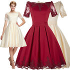 Womens Short LACE Party Gowns Formal Evening Prom Cocktail Mini Dress Bridesmaid